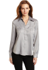 AK Anne Klein Long sleeves shirts -  AK Anne Klein Women's Petite Solid Camp Shirt Silver