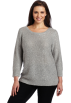 AK Anne Klein Jerseys -  AK Anne Klein Women's Plus Size 3/4 Sleeve Sequin Boat Neck Pullover Light Charcoal