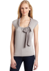 AK Anne Klein Puloverji -  AK Anne Klein Women's Sleeveless Tie Neck Pullover Silver