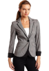AK Anne Klein Jacket - coats -  Ak Anne Klein Women's Glen Plaid Blazer Black/Sugar