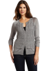 AK Anne Klein Cardigan -  Ak Anne Klein Women's Longsleeve Crew Neck Ruffle Front Cardigan Silver