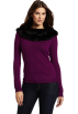 AK Anne Klein Long sleeves shirts -  Ak Anne Klein Women's Longsleeve Faux Fur Fold Out Collar Top Dark Raisin