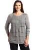 AK Anne Klein Cardigan -  Ak Anne Klein Women's Plus Size Longsleeve Crew Neck Ruffle Front Cardigan Silver