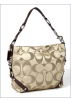 COACH Bag -  Coach Signature 24cm Sateen Carly Duffle Hobo Shoulder Bag Purse 15250 Khaki