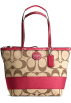 COACH Bag -  Coach Signature Stripe Bag Purse Tote 17433 Khaki Red