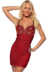 Hot from Hollywood Dresses -  Black & Sequins Padded Underwire Bra Adjustable Ruched Fitted Clubwear Mini Dress