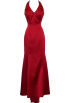 PacificPlex Dresses -  Bridal Satin Beaded Halter Gown Holiday Wedding Dress Red