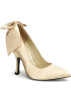 Pin Up Couture Shoes -  Champaign Satin Bow Classy Heel Pump - 9