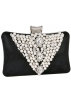 MG Collection Hand bag -  Classic Pearl Beads Brooches Rhinestone Encrusted Latch Hard Case Clutch Baguette Evening Bag Handbag Purse w/2 Chain Straps Black