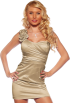 Hot from Hollywood Vestidos -  Designer One Shoulder Satin Prom Party Evening Fitted Dress Light Champagne