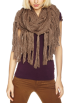 Amazon.com Scarf -  Echo Design Women's Chunky Merino Neck Ring with Fringe Cocoa