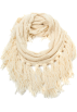 Amazon.com Scarf -  Echo Design Women's Chunky Merino Neck Ring with Fringe Vanilla