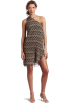 Amazon.com Kleider -  Echo Design Women's Printed Raffia One Shoulder Dress Black