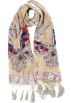 MG Collection Scarf -  Exotic Chiffon / Velvet Butterfly Print Sequins Beaded Long Shawl Wrap Scarf - 6 color options Beige