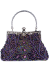 MG Collection Hand bag -  Exquisite Seed Bead Sequined Leaf Evening Handbag, Clasp Purse Clutch w/Hidden Handle Purple