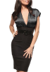 Hot from Hollywood Dresses -  FITTED CAREER WOMAN COCKTAIL HIGH WAIST PENCIL SATIN DRESS WITH BELT