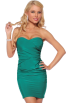 Hot from Hollywood Dresses -  FITTED RUCHED SEXY LEOPARD STRAPLESS PARTY MINI DRESS Teal Meadow