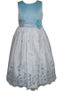 FineBrandShop Dresses -  Girls Blue White Satin Floral Embroidered Beaded Long Dress Corsage Back Tide