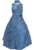 FineBrandShop Dresses -  Girls Ocean Blue Lace Trimmed Satin Long Dress Sheer Mesh Covered Crinolined Skirt Incl Scarf