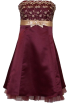 PacificPlex Dresses -  Gold Embroidered Strapless Holiday Formal Bridesmaid Gown Prom Dress With Tulle Junior Plus Size Burgundy