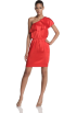 Halston Heritage Dresses -  HALSTON HERITAGE Women's One Shoulder Ruffle Dress Cayenne