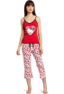 Hello Kitty Pajamas -  Hello Kitty Women's Hk Dreaming Of Love Pajama Pant Set With Printed Pant And Tank Top Red