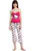 Hello Kitty Пижамы -  Hello Kitty Women's Hk Dreaming Of Love Two Piece Pajama Pant Set With Tank Top And Printed Pant Pink