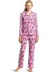 Hello Kitty Piżamy -  Hello Kitty Women's Print 2 Piece Notch Collar Top and Pant Pajama Set Light Pink