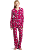 Hello Kitty Pijamas -  Hello Kitty Women's Print 2 Piece Notch Collar Top and Pant Pajama Set Pink