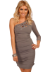 Hot from Hollywood Vestiti -  Long Sleeve One Shoulder Laser Cut Rhinestone Design Fitted Cocktail Party Dress
