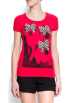 Mango Camisola - curta -  Mango Women's Animal Print T-shirt Red
