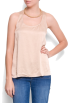 Mango Shirts -  Mango Women's Relaxed-fit Racerback Blouse Beige
