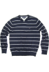 Tommy Hilfiger Pullovers -  Mens Tommy Hilfiger V-neck Sweater in Navy Blue with Grey Stripes