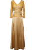 PacificPlex Dresses -  Mother Of The Bride Formal Wedding Party Gown Beaded Lace & Satin MOB Dress Gold
