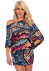 Hot from Hollywood Dresses -  Off Shoulder Kimono Sleeve Club Party Tunic Mini Dress Magenta Multi Indian Feathers
