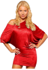Hot from Hollywood Dresses -  Off Shoulder Kimono Sleeve Club Party Tunic Mini Dress Red Scarlet