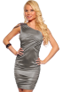Hot from Hollywood Dresses -  One Shoulder Shirred Beads Trim Hot Party Mini Dress Silver