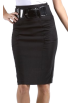 Saka's skirts Skirts -  Petite High Waist Shirred Stretch Pencil Skirt with Wide Belt ( Choose Black or Brown ) Brown