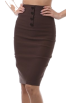 Saka's skirts Skirts -  Petite High Waist Stretch Pencil Skirt with Four Button Detail ( Choose Brown or Black ) Black