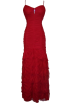 PacificPlex Dresses -  Pleated Scalloped Mesh Full Length Gown With Spaghetti Straps Red