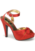 Pin Up Couture Sandals -  Red Satin Ankle Strap Platform Sandal - 6