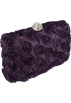 MG Collection Hand bag -  Romantic Rose Rosette Sheer Satin Hard Case Baguette Evening Clutch Purse w/Detachable Chain Purple