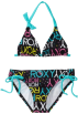 Roxy Swimsuit -  Roxy Kids Girls 7-16 Roxy Marks The Spot Print Halter Tiki Tri 2 Piece Swimsuit Set New Black
