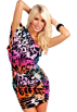 Hot from Hollywood Dresses -  Sexy Kimono Sleeve One Shoulder Rhinestone Cocktail Club Evening Mini Dress Rainbow Me Cheetah