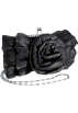 MG Collection Hand bag -  Sheer Wild Rose Rhinestones Frame Clasp Clutch Baguette Evening Handbag Purse w/2 Hidden Detachable Chains Black