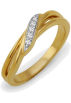 D-GOLD Rings -  Sterling Silver Yellow Plated Round Diamond Twisted Fashion Ring (1/20 cttw)