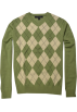 Tommy Hilfiger Pullovers -  TOMMY HILFIGER Mens Argyle V-Neck Plaid Knit Sweater Green/Off White