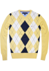 Tommy Hilfiger Pullovers -  Tommy Hilfiger Men Argyle Plaid Knit Logo V-Neck Sweater Yellow/white/navy