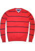 Tommy Hilfiger Pullovers -  Tommy Hilfiger Men Striped Logo V-Neck Sweater Pullover Red/Navy