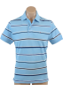 Tommy Hilfiger T-shirts -  Tommy Hilfiger Men Thin Stripes Logo Polo T-shirt Sky blue/white/blue/black